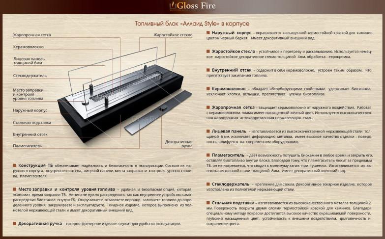 Топливный блок для биокамина Алаид Style - К купить